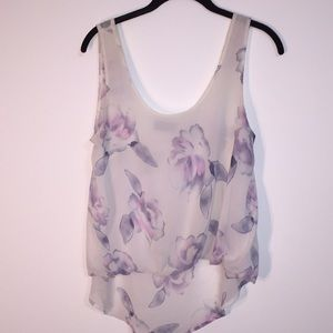 Astr the Label floral blouse tank top M work white